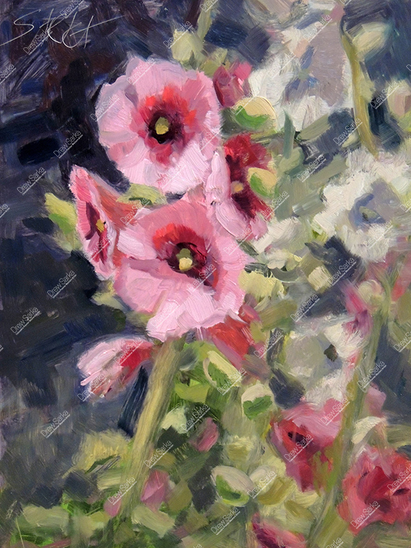 Hollyhocks, 9x12