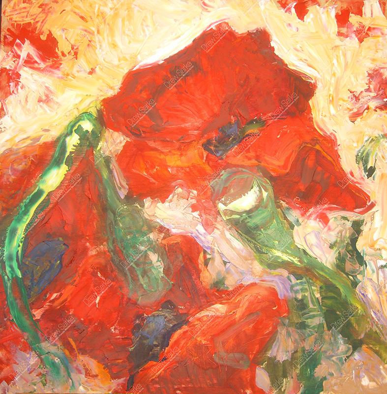 Poppies, 24x24