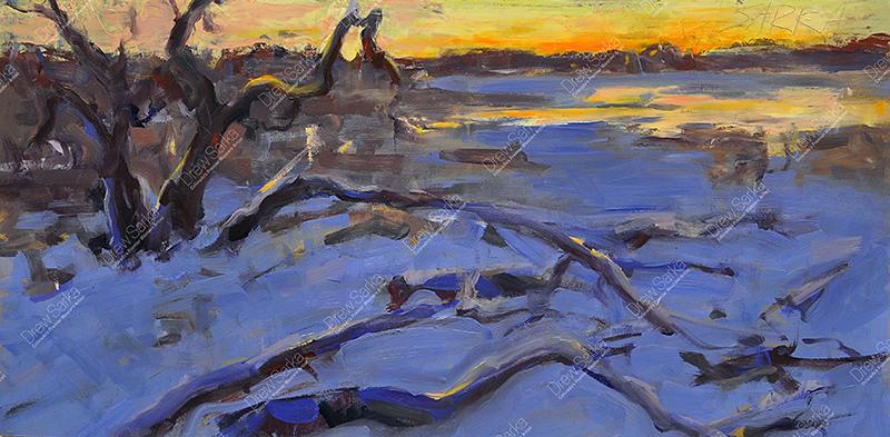 Winter at Dusk, 12x24