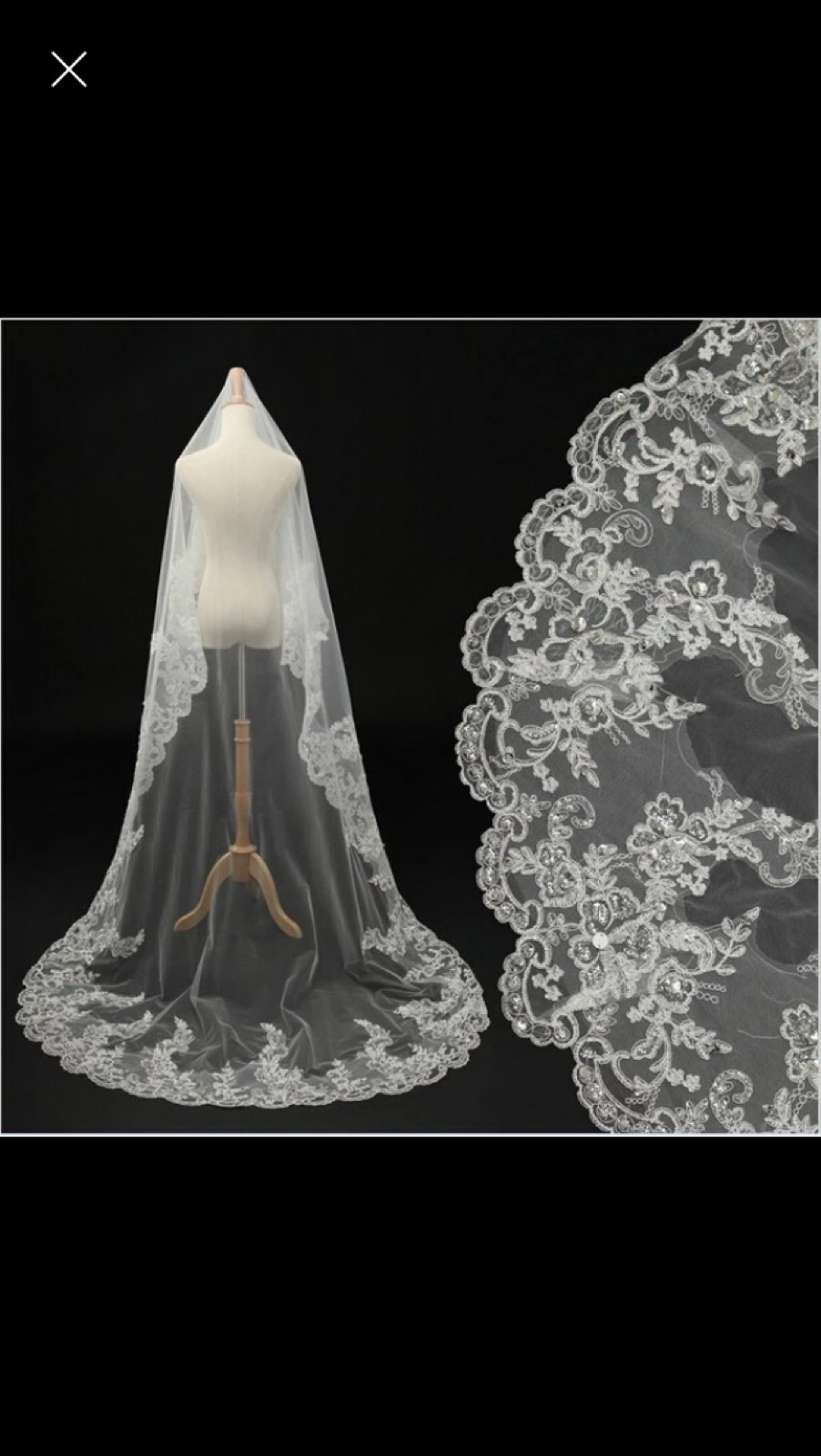 This veil comes in 4 foot and 6 foot lengths. Wear it pinned in your hair or attach a comb.  It can be worn with a headband, tiara or comb. If the flowered headpiece is used, it can be made into a Juilette cap. It is free with your gown.