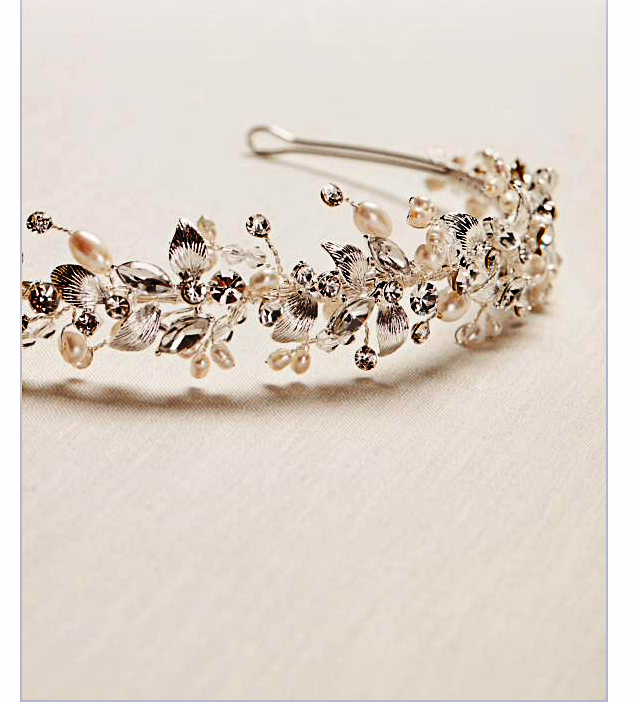 This headband sells for $129 at Kohl's. It is free at Teresa's for the bride's hair. Wear it on a slight forward tilt for more of a crown/tiara look.