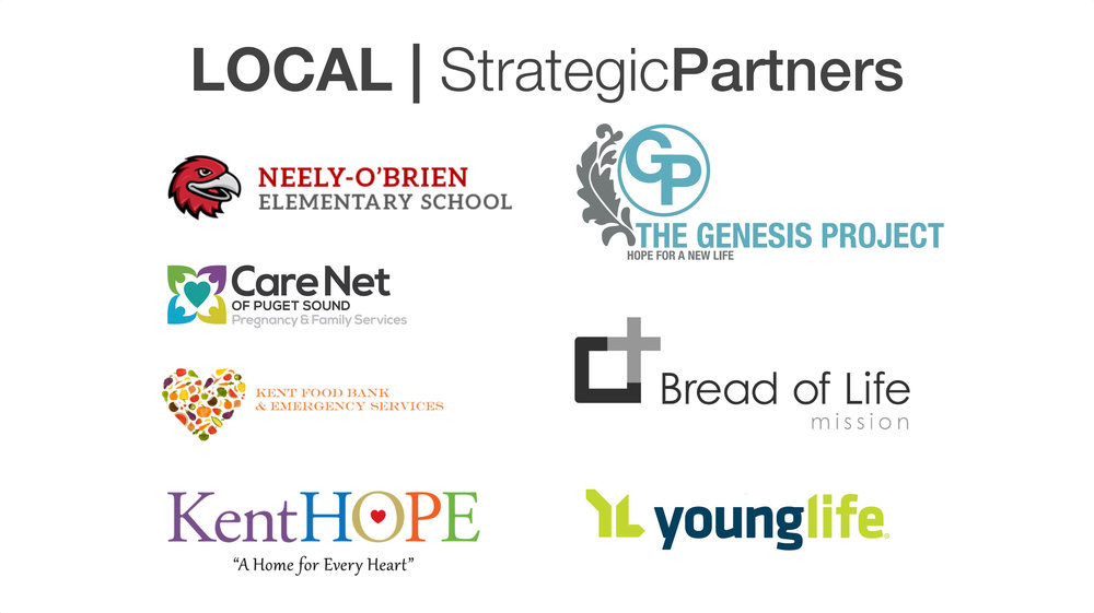 Click on one of the links below for more information or to volunteer with our local strategic partners.    Neely O'Brien Elementary      The Genesis Project      Care Net of Puget Sound      Bread of Life Mission      Kent Food Bank      Kent Hope       YoungLife