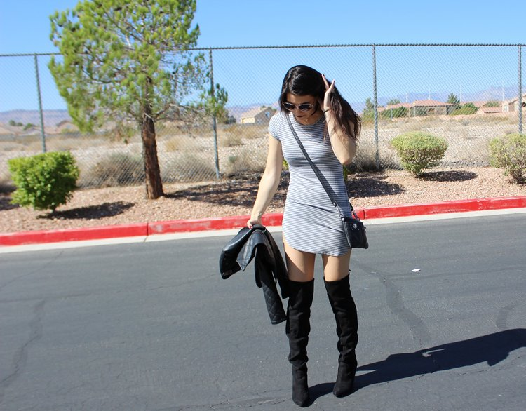honestlysarcastic,lasvegas,vegas,nevada,desert,style,outdoor,fashion,lifestyle,beststyle,postsoftheyear,newyear,blogger,lasvegasblogger,vegasblogger,lifestyleblogger,styleblogger,blog,dress,stripes,overtheknee,overthekneeboots,boots,leather,sunshine