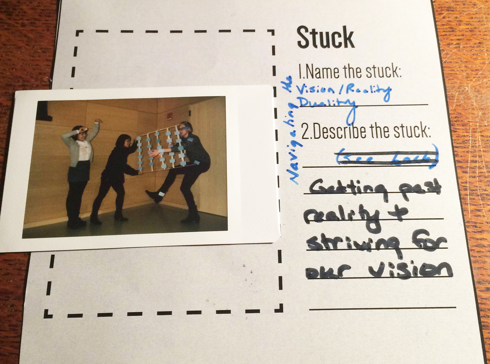 Fig.4: the 'stuck' moments were captured with a polaroid camera and groups had to name the ways they were 'stuck' and describe it