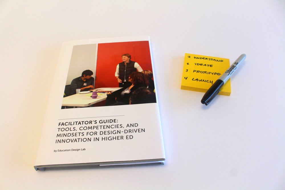 "The Facilitator's Guide brought together the design methods and overall strategy of the Lab in addressing higher ed challenges. It also served as a ""cultural probe"" as it allowed the team to agree and disagree – hence, debate their core understandings and propositions around design for higher education."