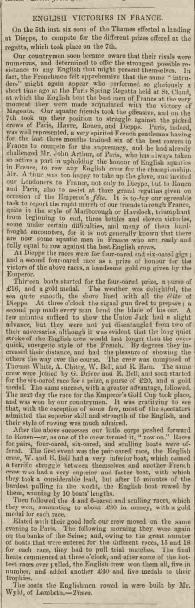 Sons of the Thames Rowing Club historic press cutting