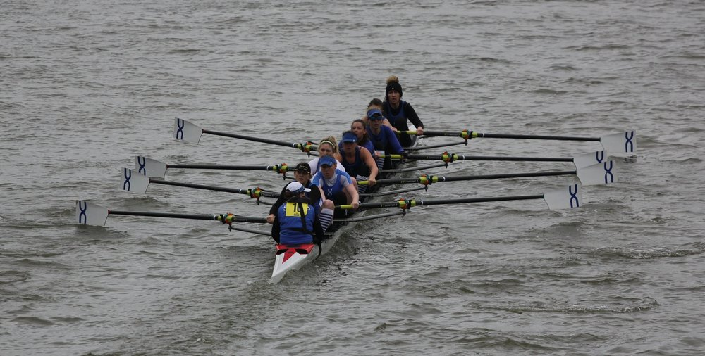 THE CREW CRUISE AWAY FROM HAMMERSMITH BRIDGE, WITH A COMFORTABLE LEAD, AND GO ON TO WIN THE EVENT.