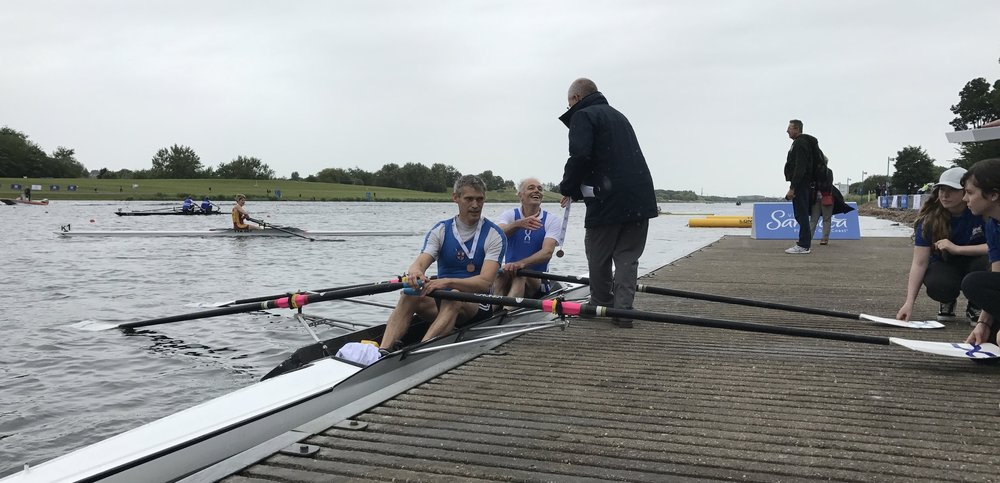with so many fourth places at the british masters rowing championships, it was good to see brad and tim collect their medals.