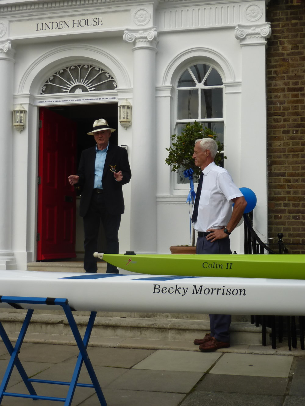 Colin and Les at Sons of the Thames Rowing Club boat naming.