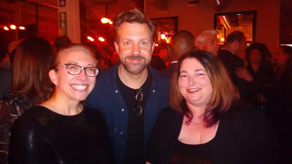 Legion M Investors Meredith Schindehette and MeriJewel Burr with Jason Sudeikis