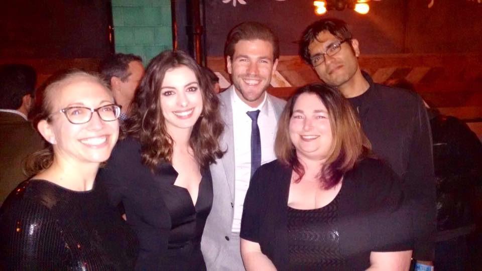 Legion M investors Meredith Schindehette and MeriJewel Burr with Anne Hathaway and Austin Stowell