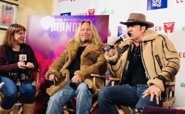 Nicolas Cage and Mötley Crüe's frontman Vince Neil crash the Mandy Q&A interview