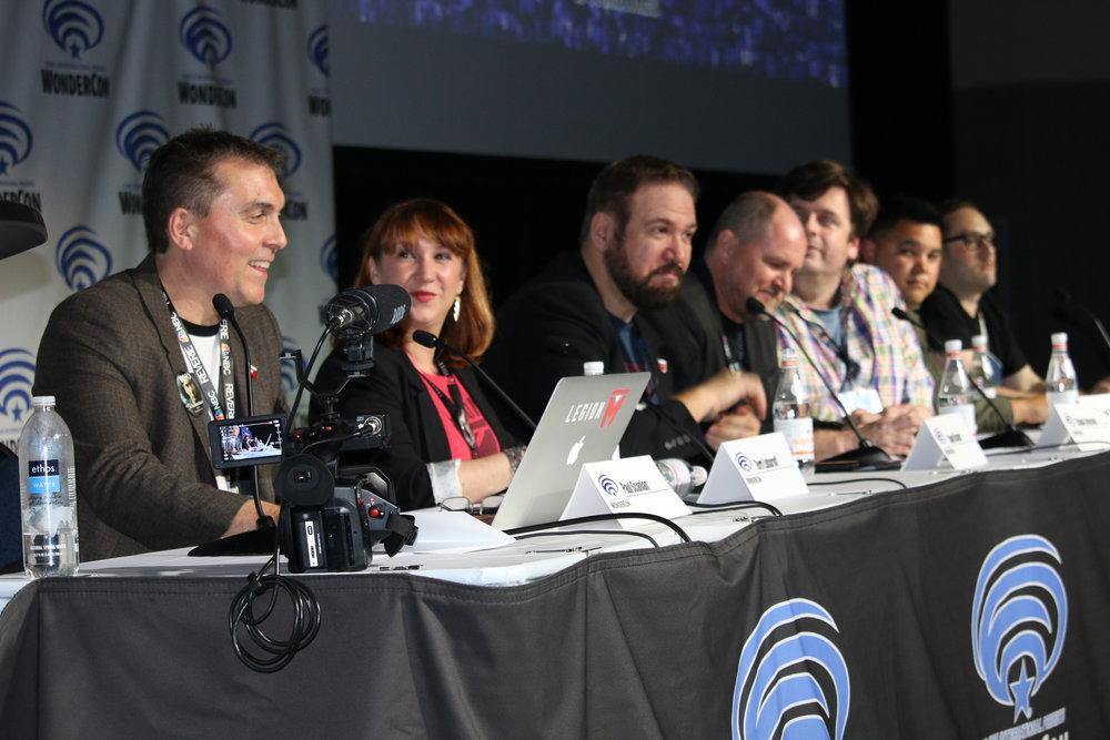 "Legion M's panel last year at WonderCon 2018. From L-R: Legion M CEO Paul Scanlan; Legion M COO Terri Lubaroff; Legion M's ""Airship Cowboys"" co-creators Adam Beason and Jed Rigney; Legion M's ""Evermor"" co-creator Perry Covington; and Legion M's ""Malice"" creator Evan Wasserstrom."