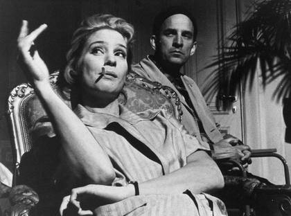 Ingmar Bergman and actress Ingrid Thulin on the set of The Silence (Svensk Filmindustri press photo)