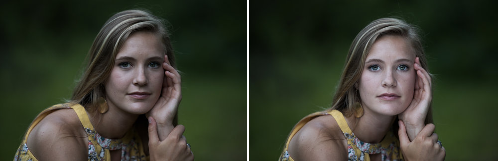 The left image was taken without reflector. The right image was taken with reflector under the subject, angled up at the face. It really makes a huge difference, giving flattering light with catch-light in the eyes. A simple, yet effective tool! I highly recommend any natural light photographer getting one of these reflectors!
