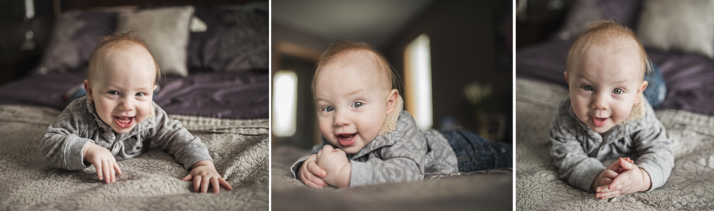 This is the perfect example of what I would use my 35mm for. I did a lifestyle session for a family and their bed was close to the wall. I had limited space to shoot if I wanted my subject (this cute baby) facing the naturally lit window. I used my 35mm to be close to the subject but also give that creamy bokkeh I desired at an f stop of 1.8!