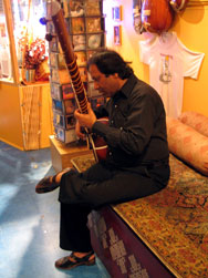 Ustad Ji trying out one of our VK model sitars