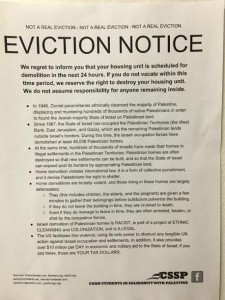 This photo, obtained by The Algemeiner, shows one of the fake eviction notices posted by CSSP across Connecticut College dorms.