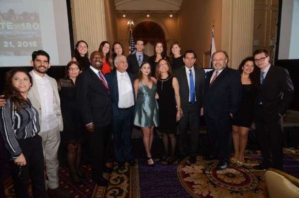 Shoshana Bederman with Ambassador Danny Danon, NYU Realize Israel students and others