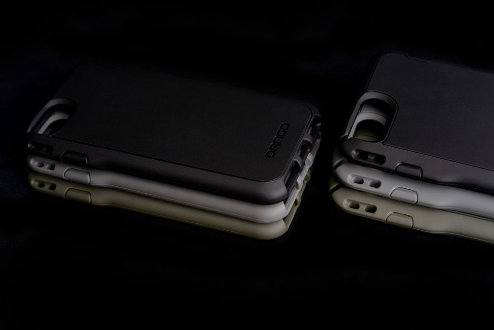 Available for IPhone 6, 6S, 6PLUS, 7, 7S, & 7PLUS In 3 tactical colors: Jet Black, Charcoal Gray & OD Green
