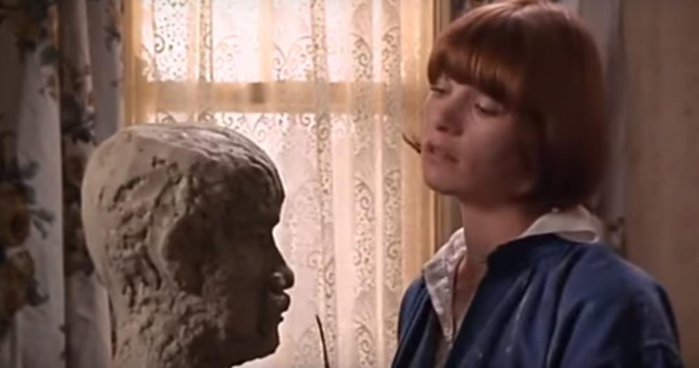 Gudrun sculpts a head of Gerald.