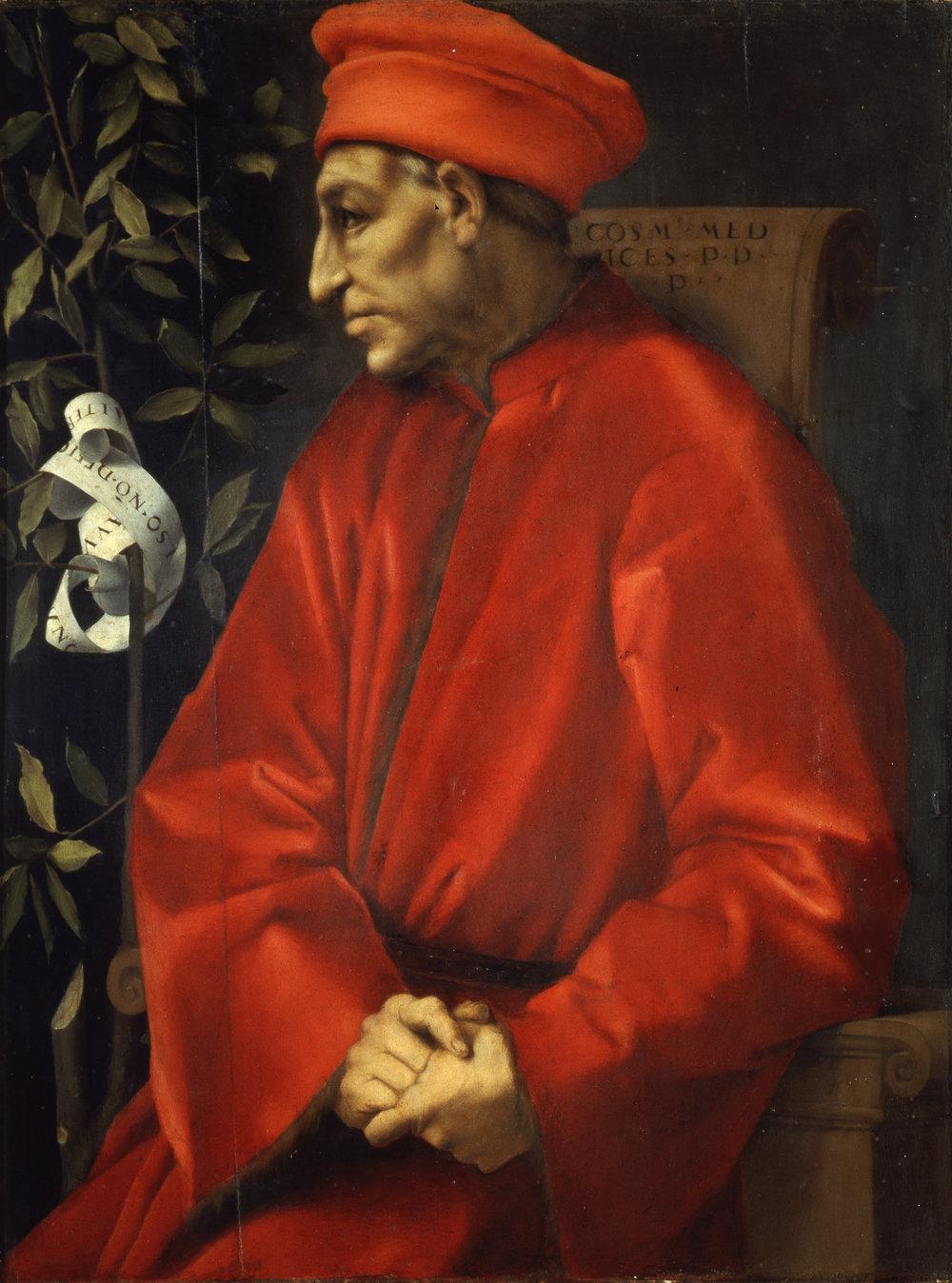 Pontormo, Portrait of Cosimo Il Vecchio de' Medici, c. 1518-1520, Uffizi Gallery.