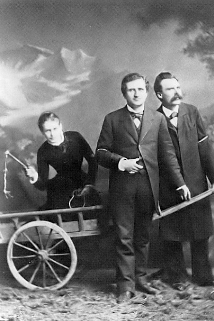 Portrait of a Love Triangle: Lou Andreas Salome, Paul Ree, and Friedrich Niezsche. Photographed in the studio of Jules Bonnet, Lucerne, 1882.