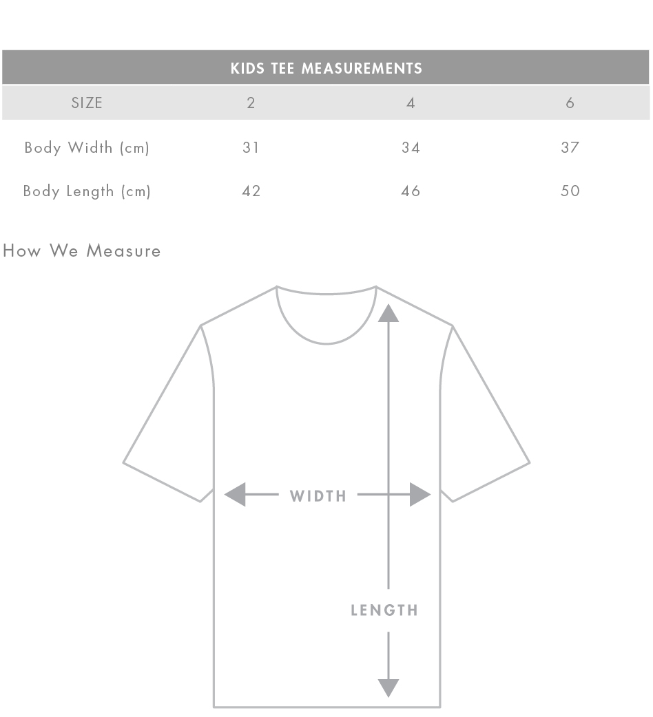 Kids Tee Measurements