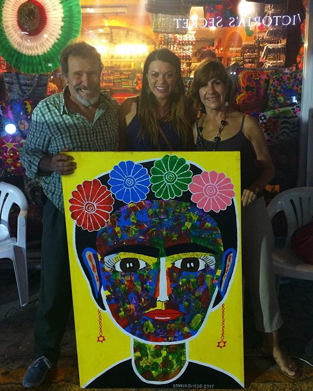 Add it to the collection. I love meeting artists around the world. Here is Jesus and his wife. They are beautiful people who create beautiful art work together ❤️🇲🇽 #jessietrinchard #art #mexico #collection #friedakahlo #love #happiness #creative #beautiful #painting #instagood #instaart #artist