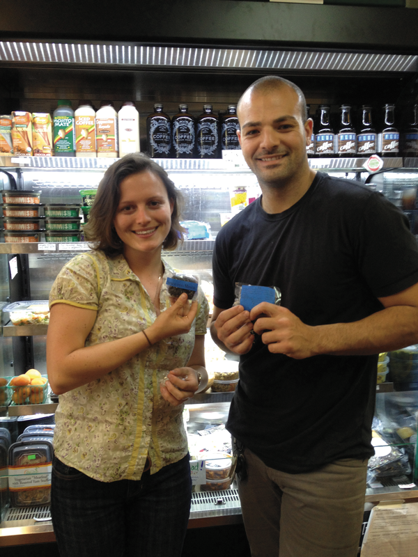Michael Assayag, creator of Sprouted Minds high-performance superfood bars, poses here with Gwen von Klan, director of the Berkeley Student Collective.  (Photo courtesy of the Berkeley Student Food Collective)