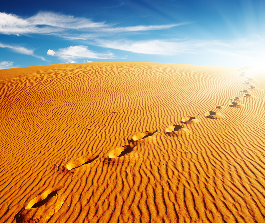 bigstock-Footprints-on-sand-dune-Sahar-16402469