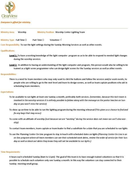 Worship Job Description