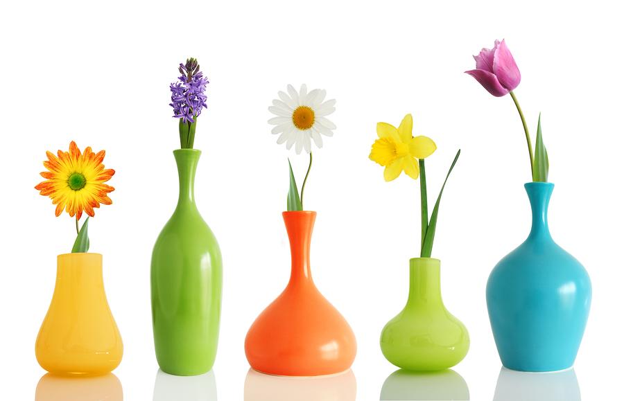 bigstock-Spring-flowers-in-vases-isolat-16555646