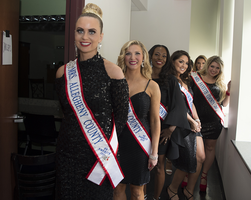 Contestants prep to participate in the opening number at the Mrs. PA America Pageant