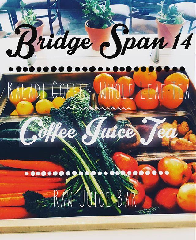 Raw Juice. Made to Order. @bridge_span_14 26th Street Mall. Coffee. Juice. Tea #Denver