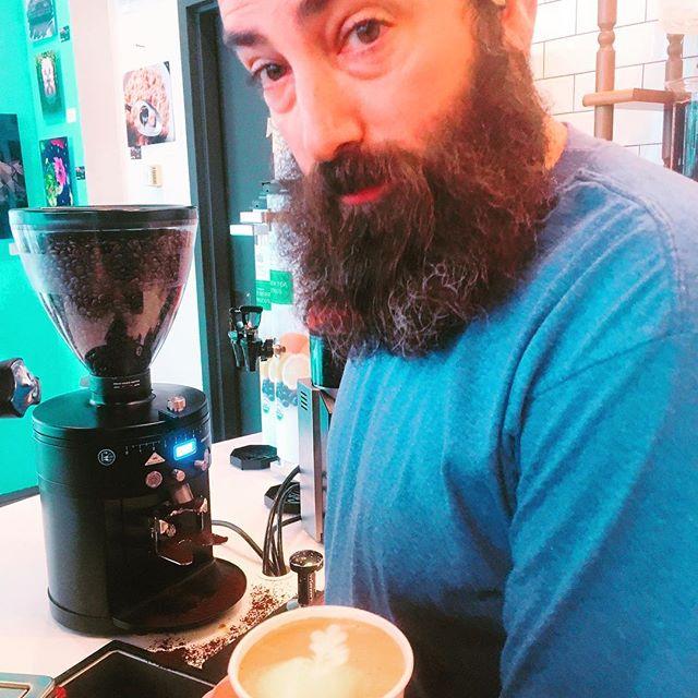 Andrew working the latte art @bridge_span_14