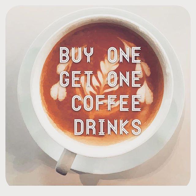 Buy one. Get one. Coffee drinks. 2-5 PM @bridge_span_14 #denver #coffeegram #coffeehouse