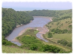 The Gxarha River, site of Nongqawuse's prophecy, empties into the Indian Ocean along South Africa's Eastern Cape coast.