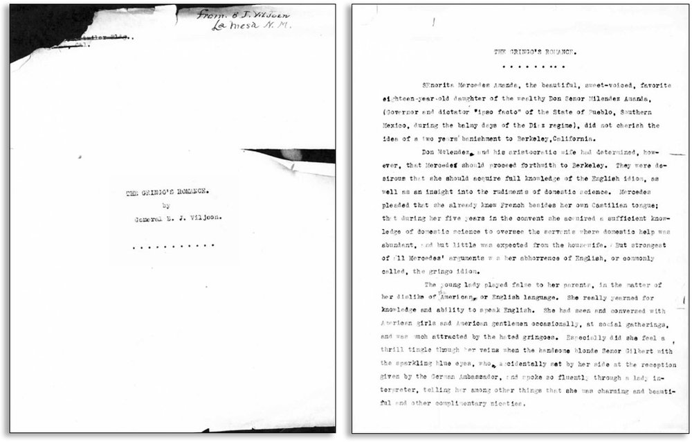 "These are the first two pages of the unpublished manuscript ""The Gringo's Romance,"" a short story written by Benjamin Johannes Viljoen, a Boer immigrant to Chihuahua and staunch supporter of Francisco Madero during the early Mexican Revolution."