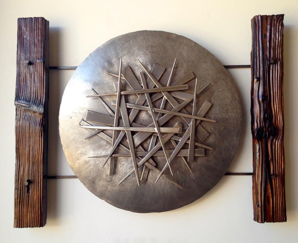 """Steel & Charred Wood, 40"""" x 44"""" x 5"""""""