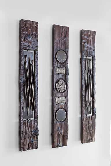 """Steel & Charred Wood, 72"""" x 12"""" x 5"""" each"""
