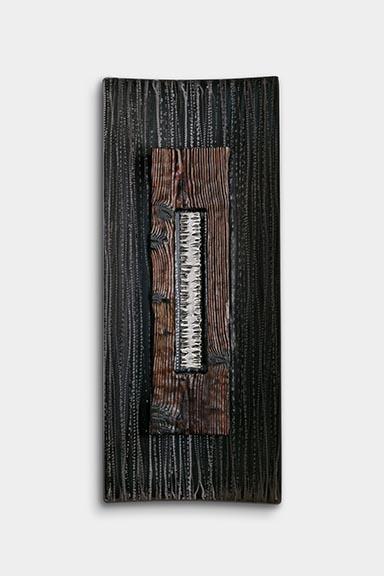 """Steel & Charred Wood, 59"""" x 24"""" x 5"""""""