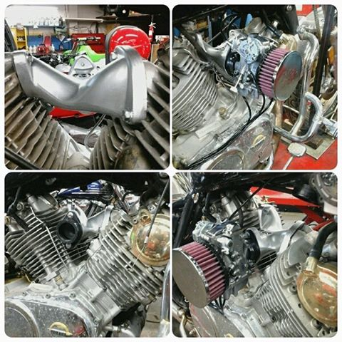 1984 Yamaha XV1000 installation of a KJS Composite Intake Manifold with Mukuni 40mm flat slide and K&N filter #kjs #yamaha #xv1000 #virgo #mikuni