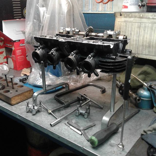 1973 Kawasaki Z1900 head we are doing the final valve adjust, before installing on engine. #kawasaki  #z1900