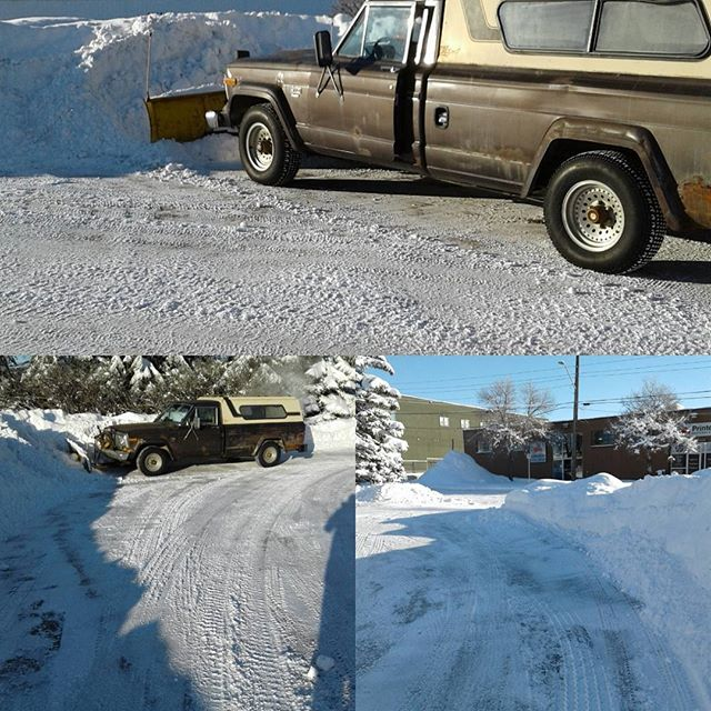 Spent the morning plowing the lot with our 1987 Jeep J10 Pioneer, a great truck, I can,t remember the last time we had so much of the white stuff, running out of places to put it. #jeep #j10 #truck