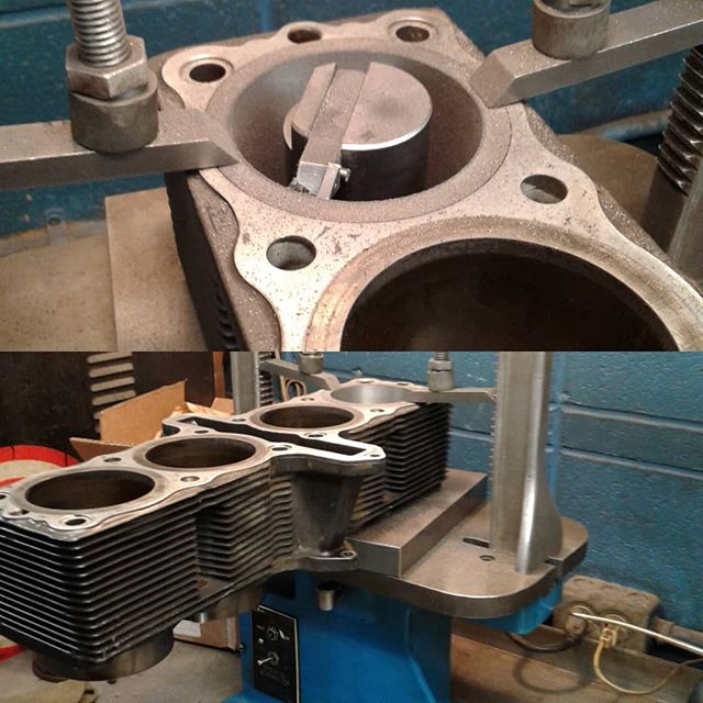 Cylinder rebore, after replacing the cylinder sleeve. #motorcyclerepair #motorcycle