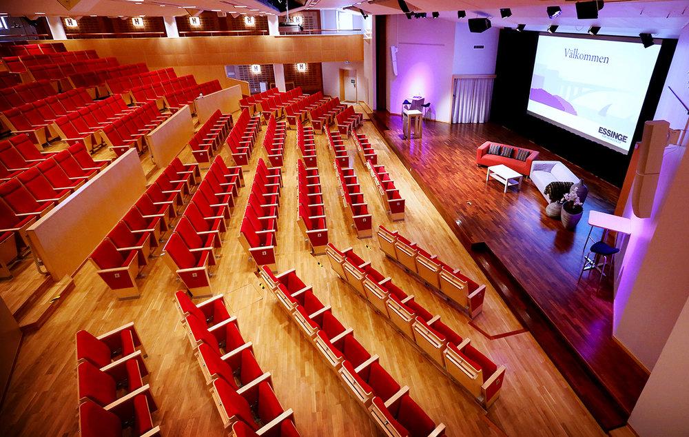 Essingesalen >450 pers  Vår vackra och moderna hörsal används såväl till utbildningar som kongresser. Det ingår alltid en tekniker som hjälper er med den senaste tekniken.