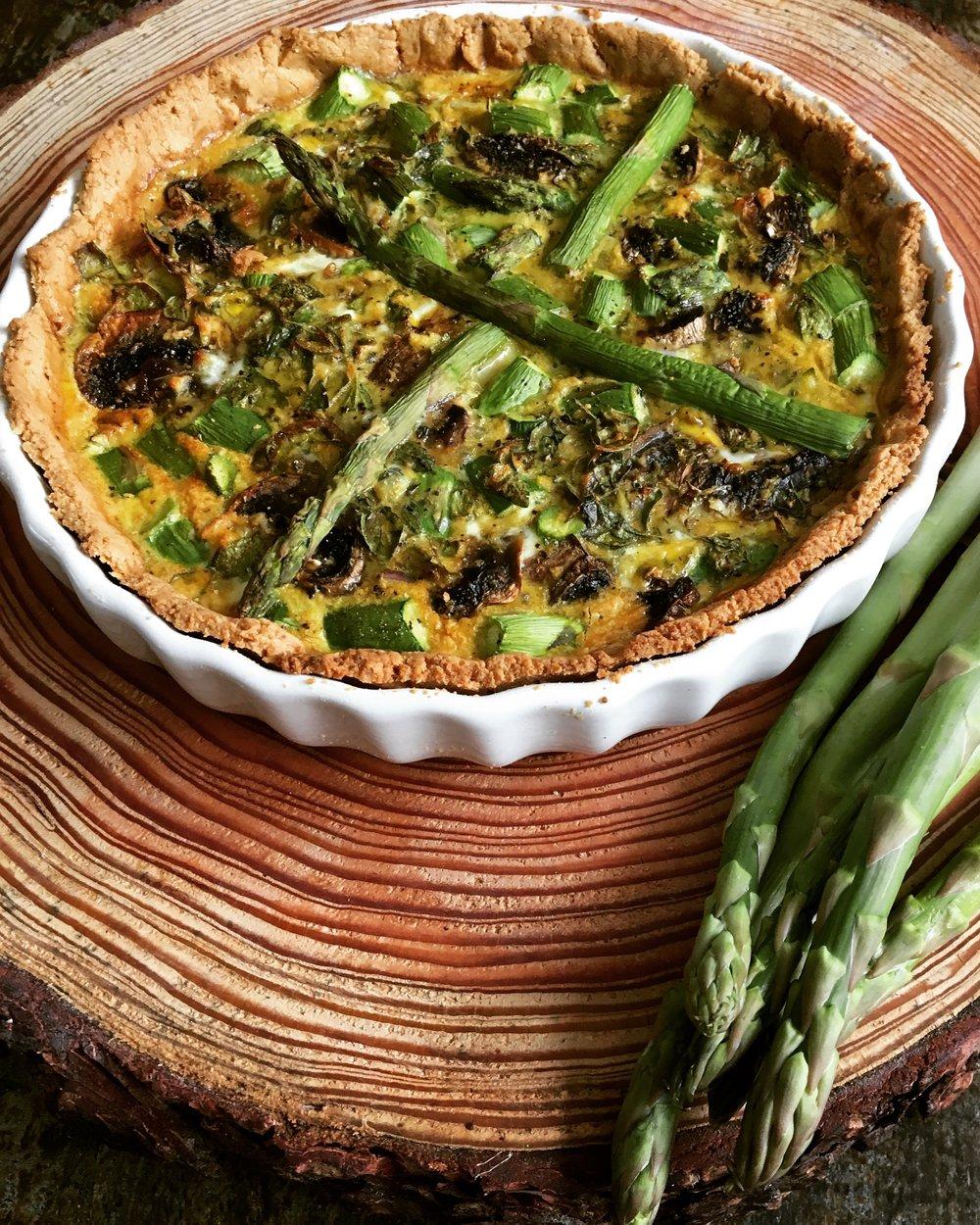 Asparagus and Mushroom Paleo Quiche