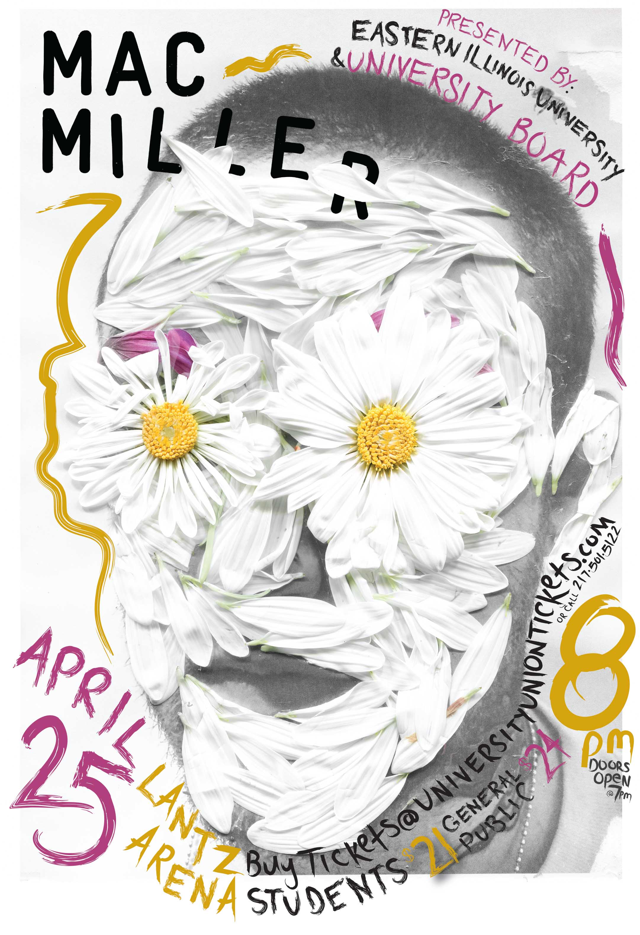 Poster design on mac - Concert Poster Design For Mac Miller At Eastern Illinois University The Image With The Flower