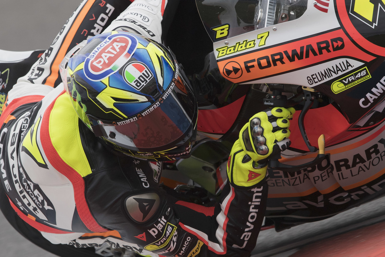 Baldassarri and Marini master difficult conditions to qualify on fourth row